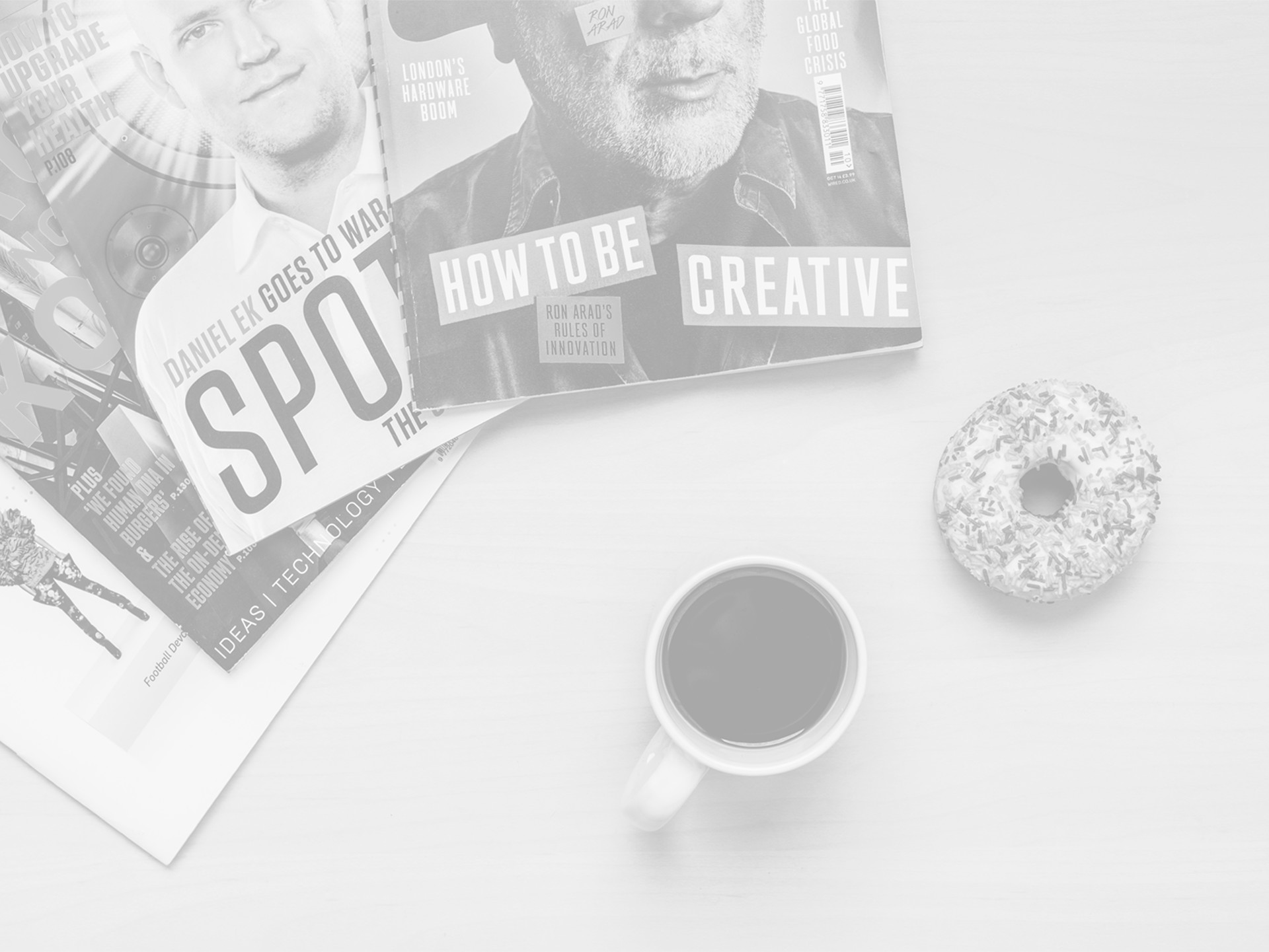 Magazines and coffee and doughnuts